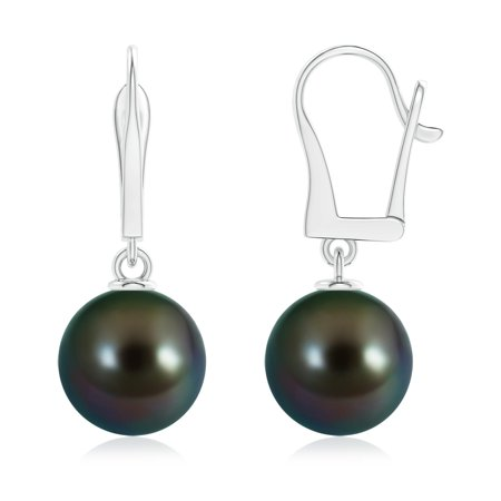 June Birthstone Earrings - Solitaire Tahitian Cultured Pearl Leverback Dangle Earrings in 14K White Gold (11mm Tahitian Cultured Pearl)- SE1533THPR-WG-AAAA-11