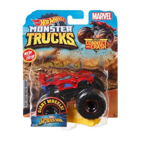 Hot Wheels Monster Trucks Spider-Man Character Vehicle - Connect and Crash Car Included 30/50 1:64 - Red and Black Vehicle with Giant