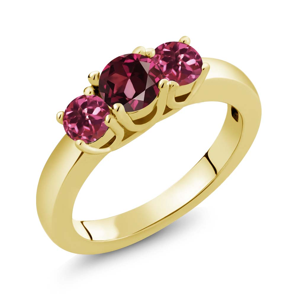 1.08 Ct Round Red Rhodolite Garnet Pink Tourmaline 14K Yellow Gold Ring by