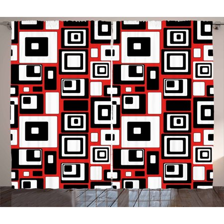 - Abstract Curtains 2 Panels Set, Minimalist Geometric Figures Retro Rectangle Forms Nostalgia Artful Print, Window Drapes for Living Room Bedroom, 108W X 84L Inches, Red Black White, by Ambesonne