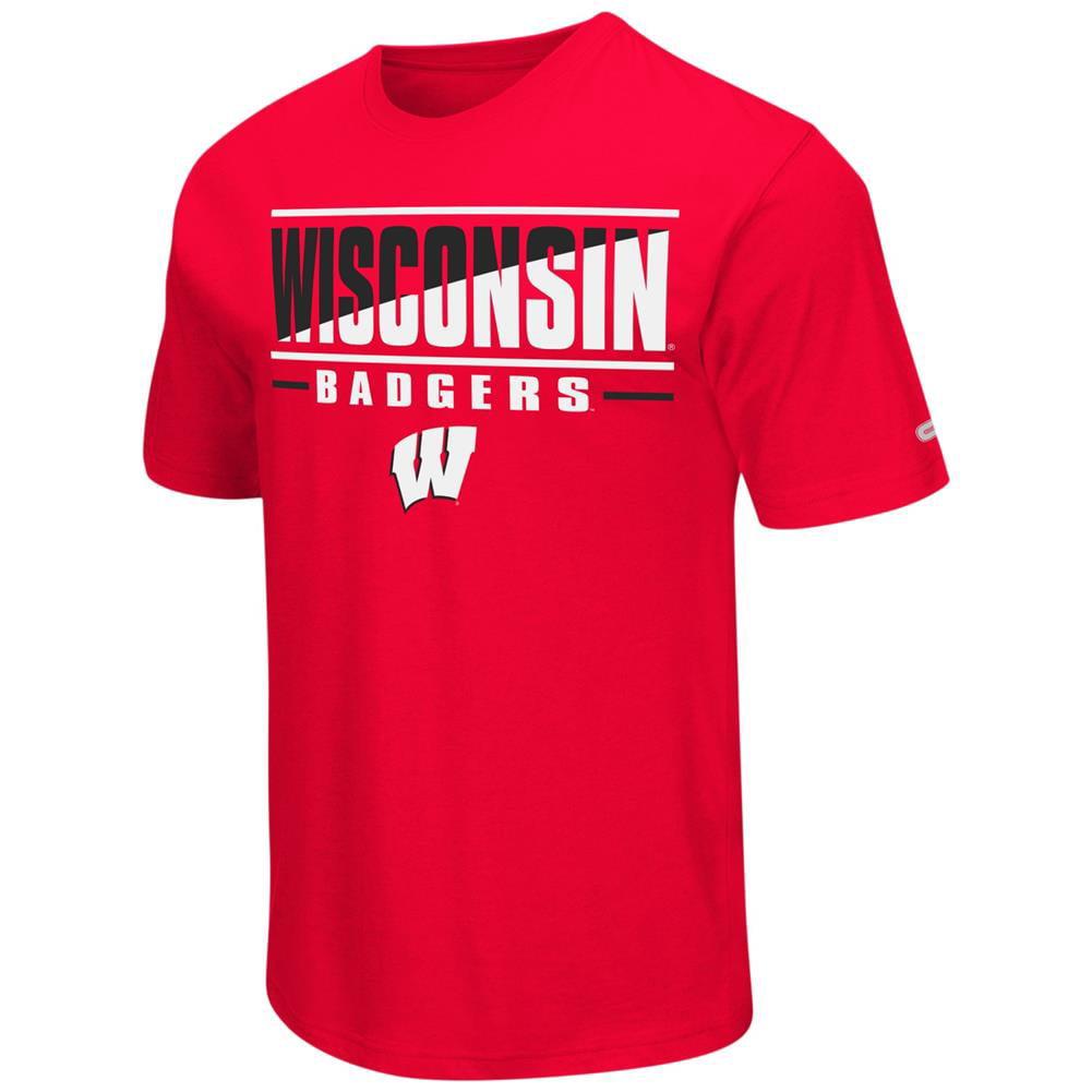 University of Wisconsin Badgers Men's T-Shirt Two Face Short Sleeve Tee