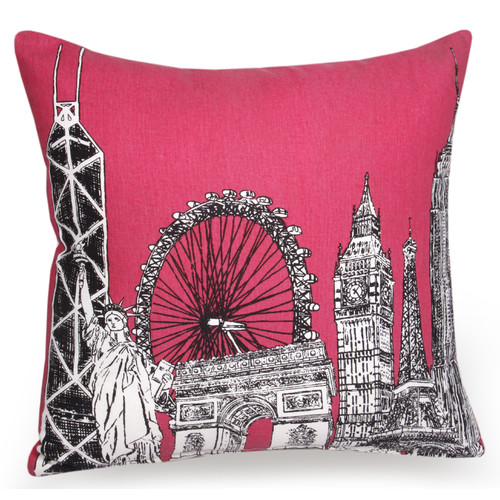 Jovi Home Citta Skyline Hand Printed Cotton Pillow Cover