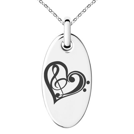 Stainless Steel Treble Bass Clef Heart Engraved Small Oval Charm Pendant Necklace