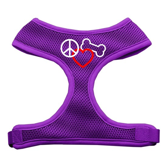 Peace, Love, Bone Design Soft Mesh Harnesses Purple Extra Large