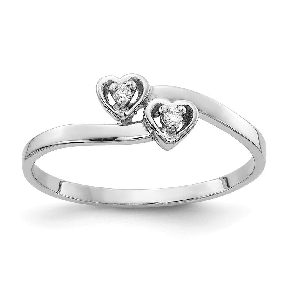14k White Gold Polished H-I SI2 Quality Diamond heart ring. Carat Wt- 0.022ct