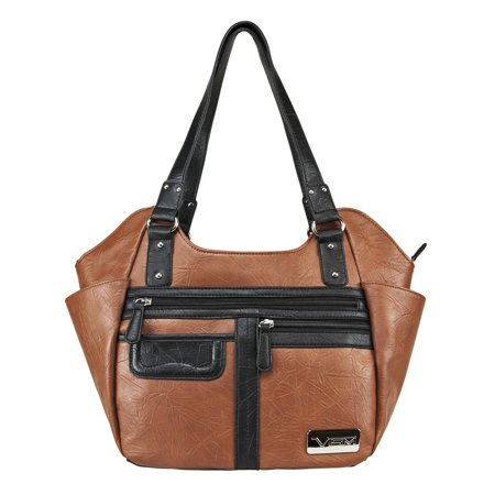 VISM Concealed Carry Hobo Bag Brown with Black Trim, Large