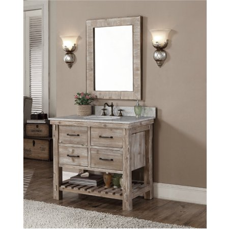 Infurniture Rustic Style Quartz White Marble Top 36 Inch Bathroom