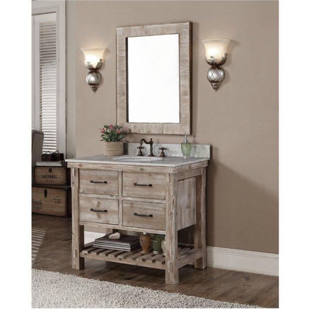 Infurniture Rustic Style Quartz White Marble Top 36 Inch Bathroom