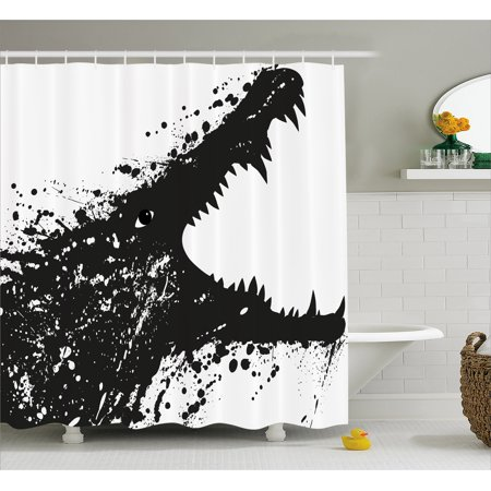 (Safari Shower Curtain, Black and White Crocodile Image with Grunge Drawing Style Attacking River Warrior, Fabric Bathroom Set with Hooks, 69W X 75L Inches Long, Black White, by Ambesonne)