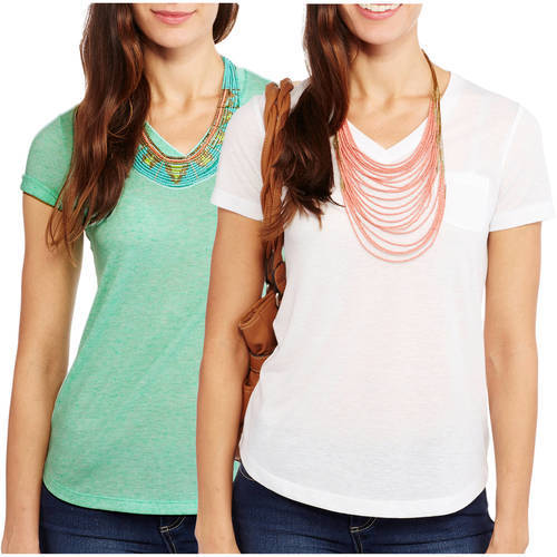 Faded Glory Women's Linen Blend Relaxed fit Short Sleeve V-Neck Pocket T-Shirt, 2 Pack Value Bundle