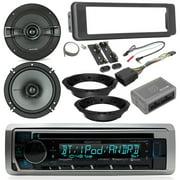 "Harley Davidson Touring Radio Package - Kenwood CD Bluetooth Marine Radio, 2x Kicker 6.5"" KS Speakers, Dash Radio Install Kit, Speaker Adapters, Thumb Control Module, Antenna (Select 96-13 Models)"