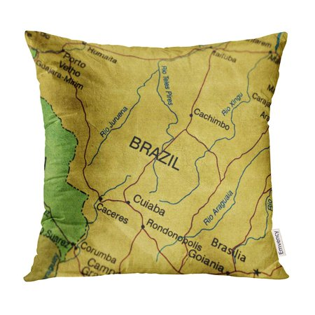 Brazil Antique Map (ECCOT Orange Old Ancient World Map of Brazil Yellow Antique Arranging Pillow Case Pillow Cover 18x18 inch )