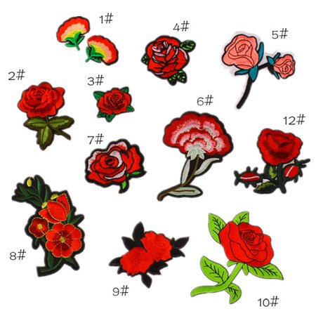 12pcs Mixed Rose Patches for Clothing Iron on Embroidered Appliques Summer Clothes Fabric Badges DIY Apparel Accessories - Easy Summer Diys