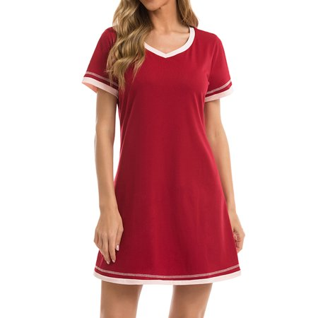 Nlife Women Colorblock Stripe V Neck Short Sleeve Home Wear Mini Dress