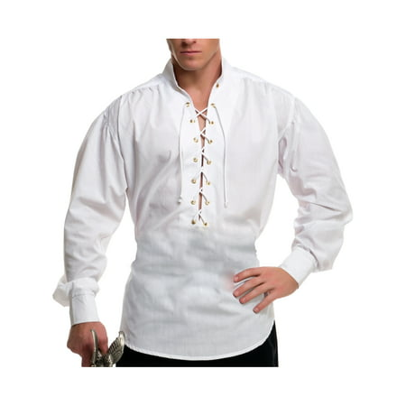 Pirate Men (Mens White Lace Up Pirate Buccaneer Shirt With Metal)