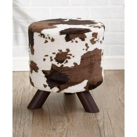 Animal Print Fabric-Covered Ottoman - Cream/Brown Cow Hide, Can serve as extra seating By The Lakeside Collection ()