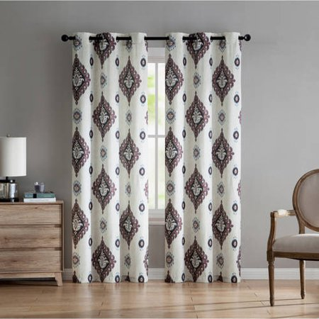 VCNY Home Nola Damask Grommet Top Window Curtain Panel, Set of 2, Multiple Sizes Available (Orange Damask Curtains)