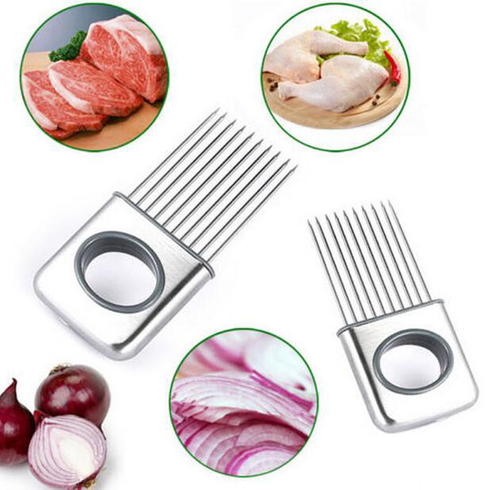 INTBUYING Onion Holder Slicer Vegetable tools Tomato Cutter Stainless Steel Kitchen Gadget(#244116)