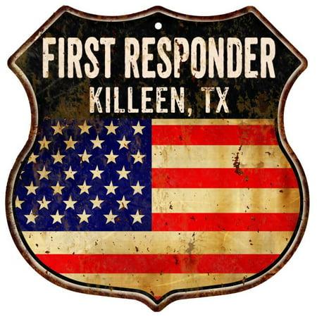 KILLEEN, TX First Responder American Flag 12x12 Metal Shield Sign S122461](Home Depot Killeen Tx)