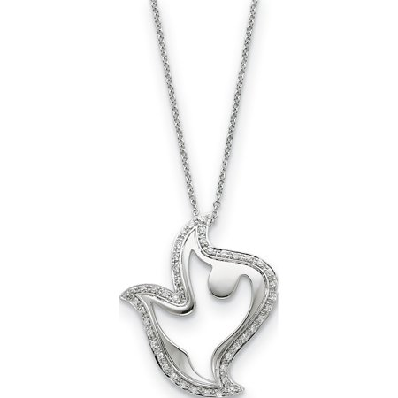 Sterling Silver & CZ Amazing Peace 18in Dove Necklace - image 1 of 4