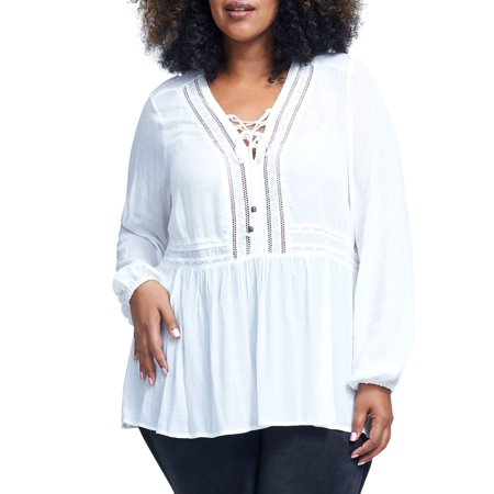 - Women's Plus Size Long Sleeve Lace Up Peasant Top