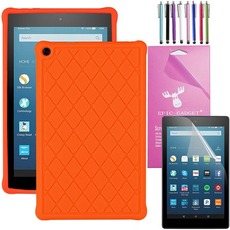 2016 Amazon Fire Hd 8 Case Silicone  Epicgadget Tm  Slim Anti Slip Soft Rubber Silicone Gel Case Cover For  6Th Generation Fire Hd 8  8  Hd Display Tablet   Fire Hd 8  Screen Protector  Tangerine