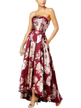 Xscape Womens Brocade Strapless Evening Dress Red 2