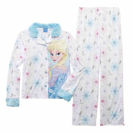 Disney Frozen Girl White Princess Elsa Pajama Flannel Sleepwear 2 PC Sleep Set