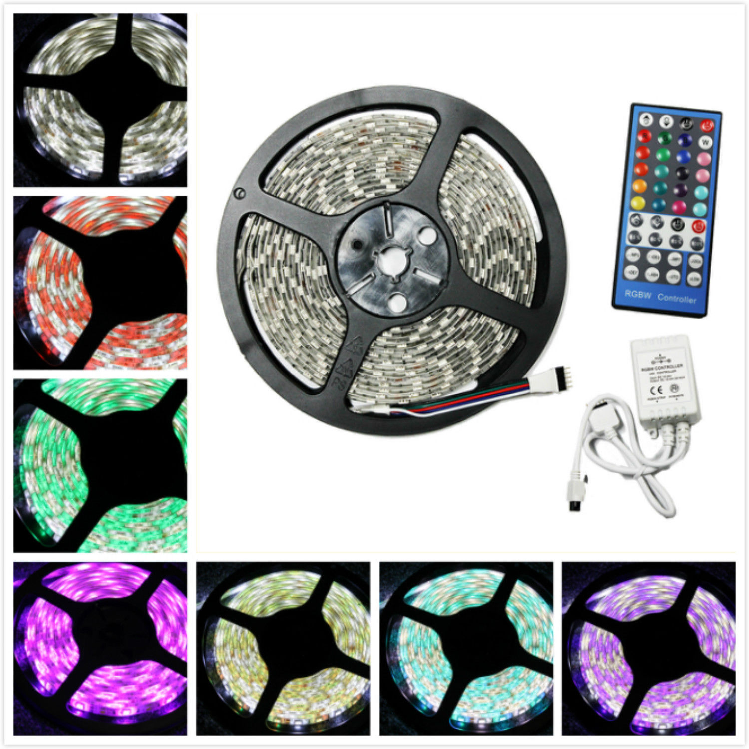 LED4Everything (TM) 5M 16.4ft 12v SMD RGBW RGB + Cool White 5050 IP65 Waterproof 300 LED Strip Light + 40Key RGBW Remote Controller + 12V 5A Power Supply