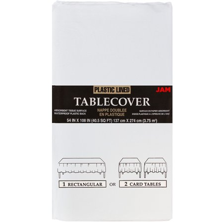 JAM Paper Paper Rectangular Tablecover, 54 x 108, White, Sold Individually - Paper Table