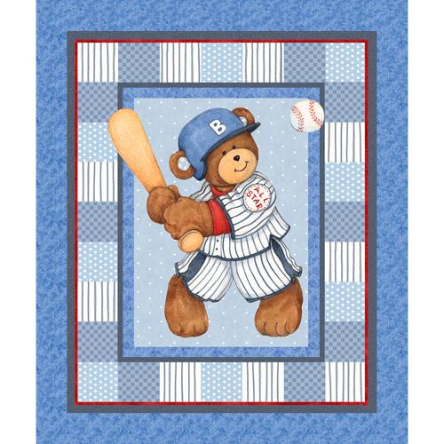 Billy Bear At Bat Quilt Panel Fabric