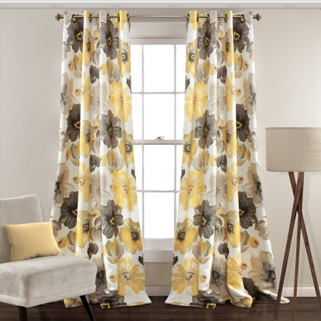 Leah Room Darkening Window Curtain Set (Yellow And Blue Curtains)