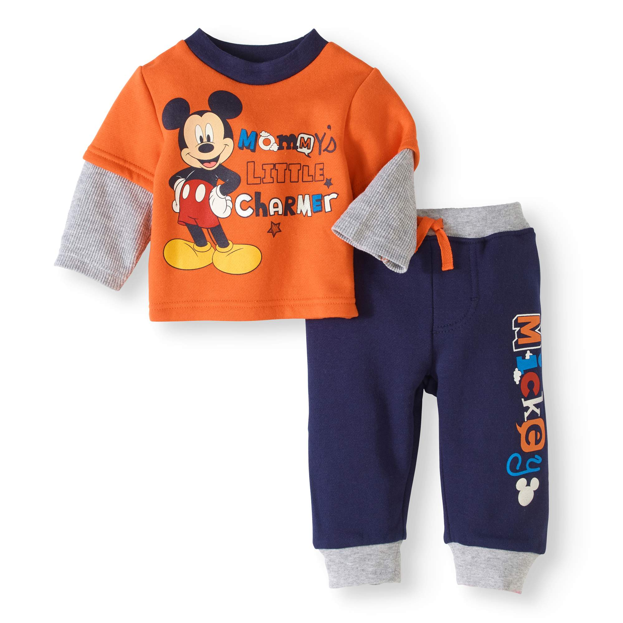 Newborn Baby Boy Hangdown Long Sleeve T-Shirt and Pant 2pc Outfit Set
