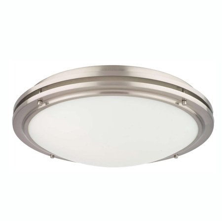 Philips Forecast West End 1 Light Glass Ceiling Flushmount, Satin Nickel Finish