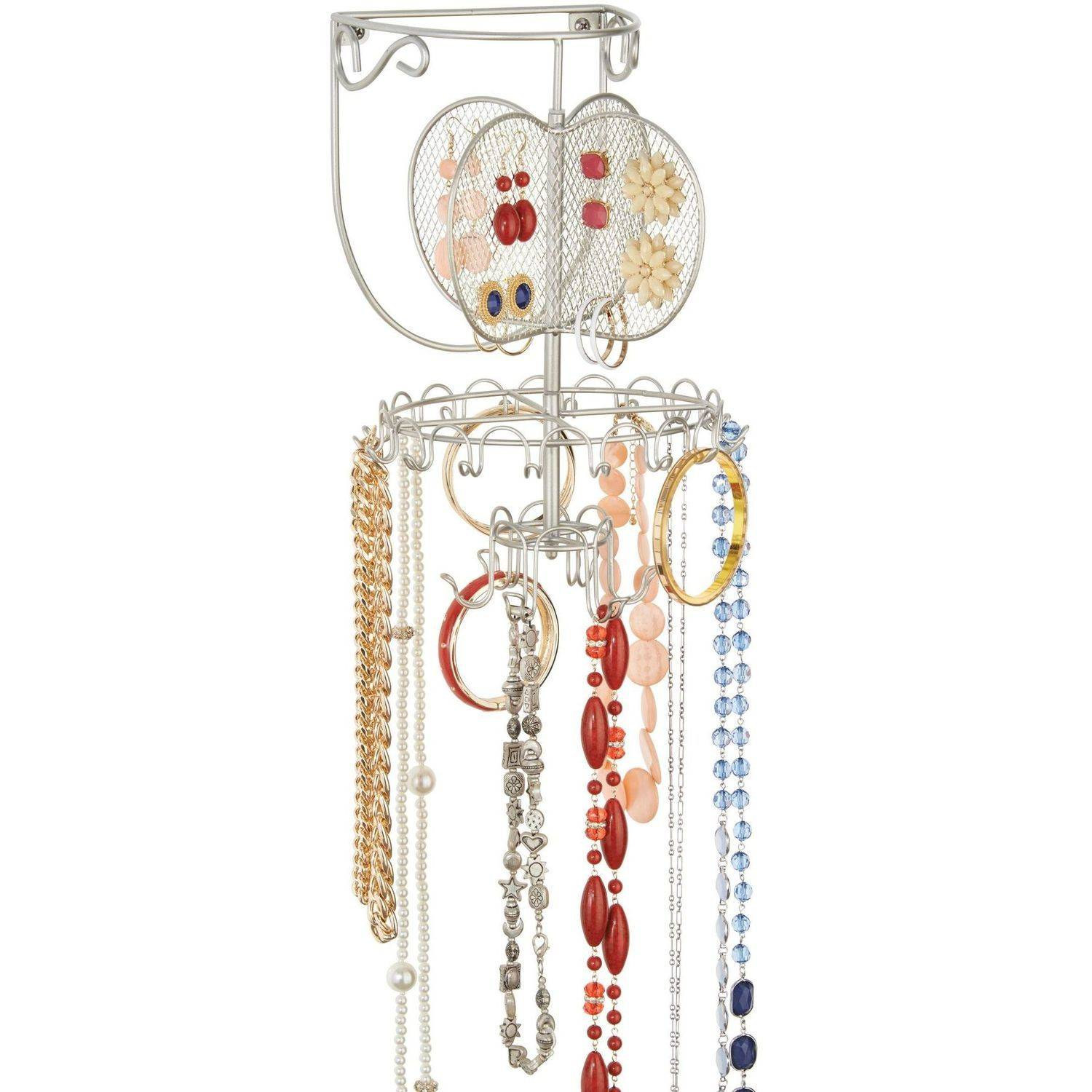 Classico Spinning Fashion Jewelry Organizer Wall Mount, Satin
