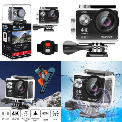 2018 Version AKASO EK7000 4K Action Camera WIFI Ultra HD Waterproof Sports DV Camcorder 12MP 170 Degree Wide Angle -Black