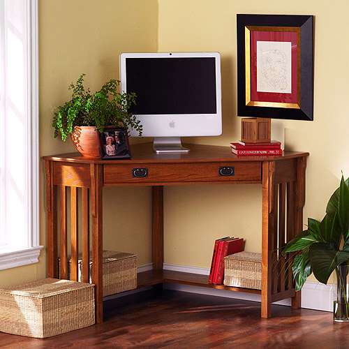 Mission Oak Corner Desk, Oak