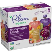 Plum Organics Stage 2 Organic Baby Food, Fruit and Veggie Variety Pack, 4 Ounce Pouch (Pack of 8)