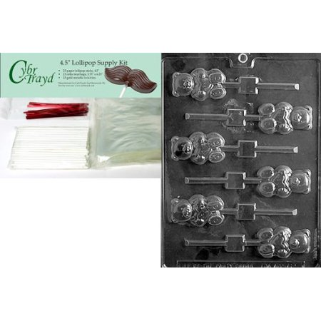 Cybrtrayd 45StK25R-V111 Teddy with Heart Lolly Valentine Chocolate Candy Mold with Lollipop Supply Bundle, Includes 25 Lollipop Sticks, 25 Cello Bags, 25 Red Twist Ties, Instructions