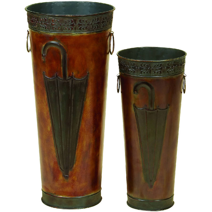 Decmode Metal Umbrella Stand, Set of 2, Bronze
