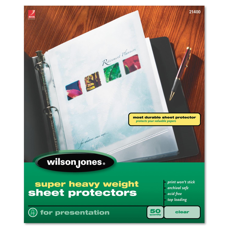 Wilson Jones Top-Loading Super Heavy Sheet Protectors, Letter, 25/Box