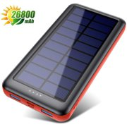 Solar Charger, 26800mAh Solar Battery Power Bank Portable Charger with Smart 4 Indicator Leds and 2 Outputs & 2 Inputs