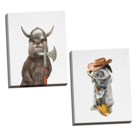 Gango Home Decor Vertical Otter & Rabbit Farmer by Tai Prints (Ready to Hang); Two 16x20in Hand-Stretched (Vertical Rabbit)