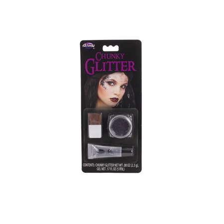 Fun World Halloween Chunky Glitter with Gel 3pc Makeup Kit, .08 oz - Black And Purple Halloween Makeup