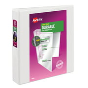"Avery Durable View 3 Ring Binder, 1.5"" Slant Rings, 1 White Binder"