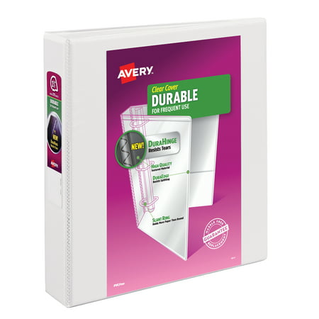 "Avery 1.5"" Durable View Binder, Slant Ring, White, 375 Sheets"