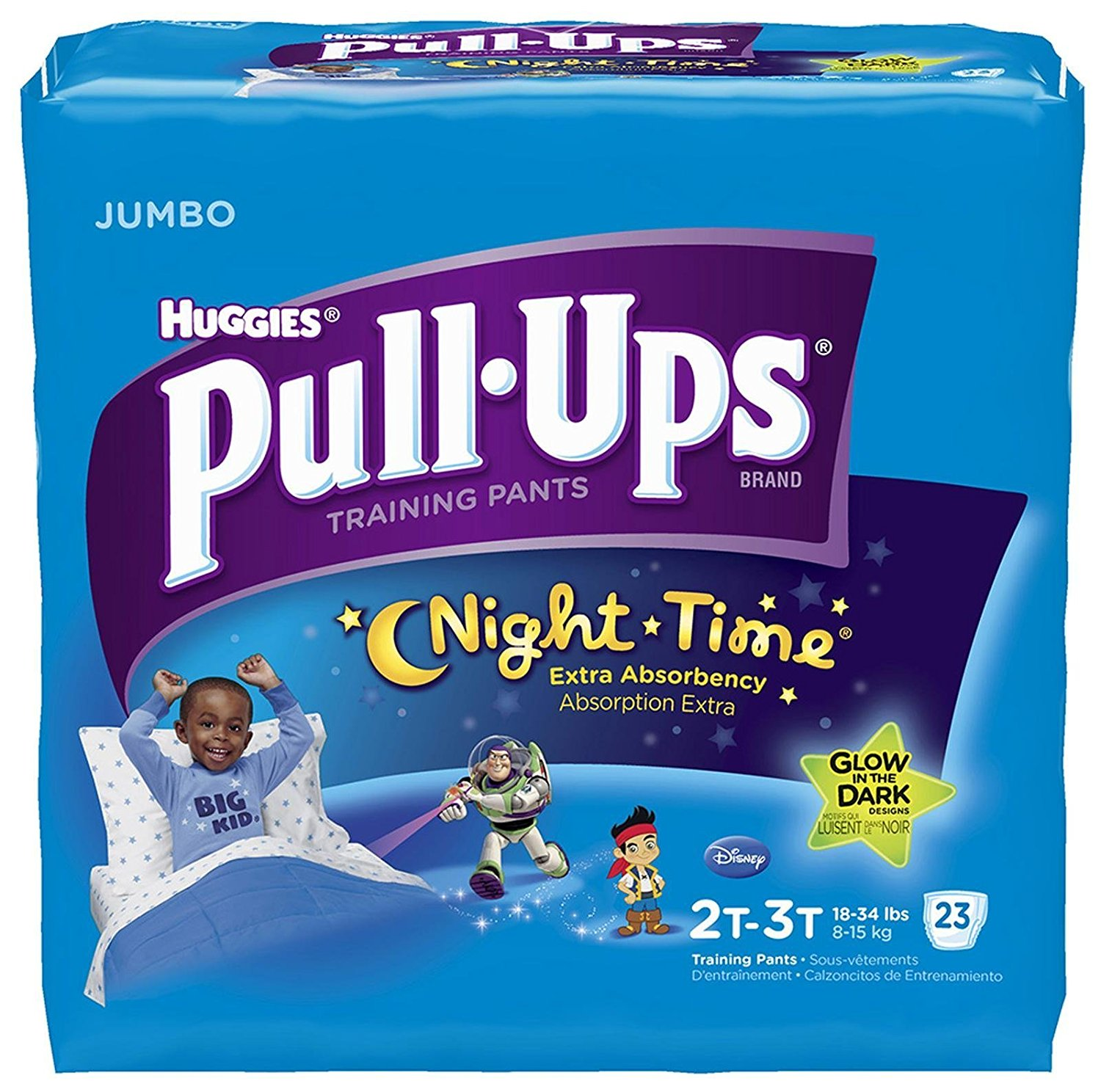 Pull-Ups Nighttime Training Pants - Boys - 2T-3T - 23 ct, Fits boys 2T-3T (up to 34 Pounds). As absorbent as the leading night time diaper when compared.., By HUGGIES