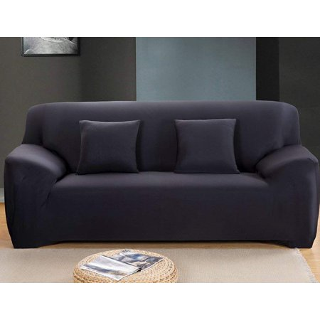 Lv Life Sofa Couch Stretch Covers Elastic Fabric Home Settee Protector Three Seater Black 190 230cm