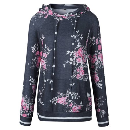 babydream1 Women Hooded Floral Printed Long Sleeve Pocket Drawstring Sweatshirt Top - image 1 of 7