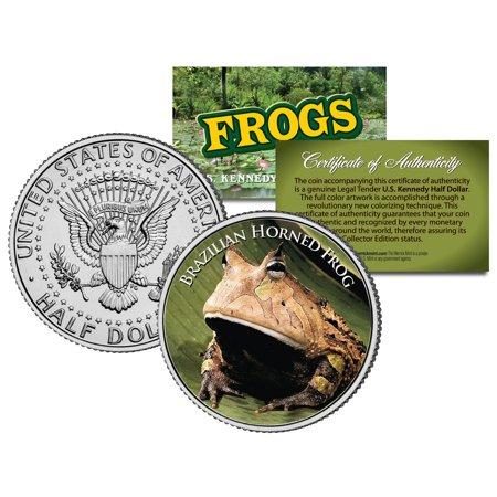 BRAZILIAN HORNED FROG *Collectible Frogs* JFK Half Dollar US Colorized Coin COA Coin Box Coa No Coins